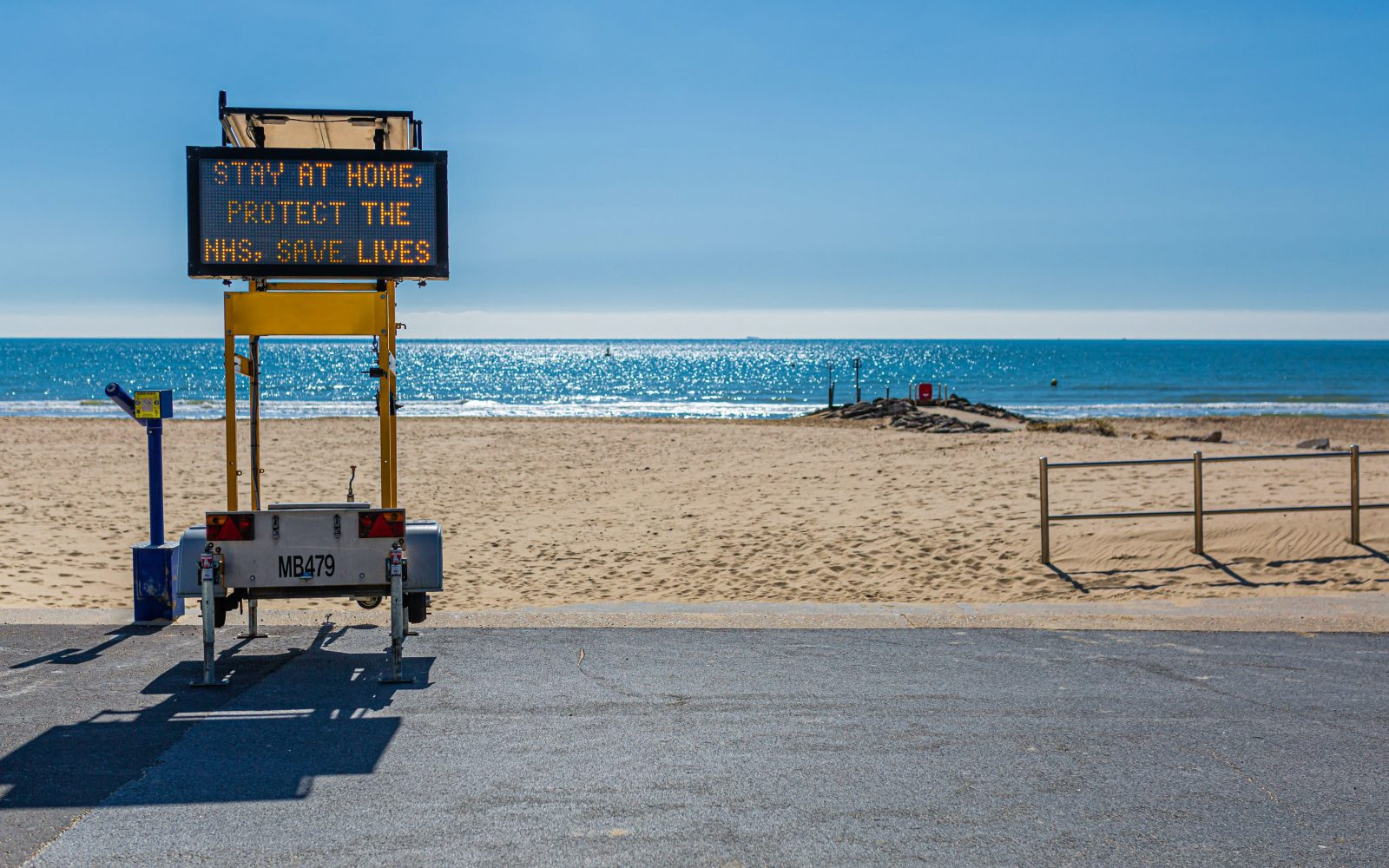 Branksome Chine Beach, Poole, Dorset, UK during COVID-19 - 1st April 2020. Image: Adobe/Drax Electric Insights.
