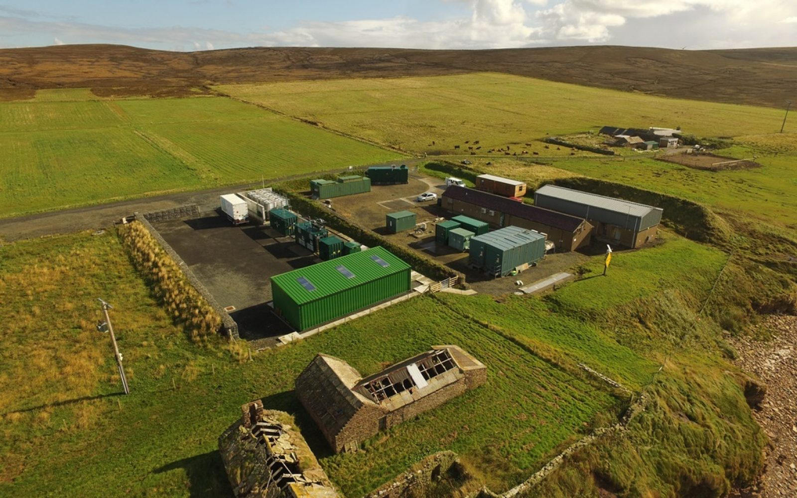 EMEC's onshore substation and hydrogen plant at Caldale, Eday. Image: Orkeny Sky Cam, courtesy of EMEC.