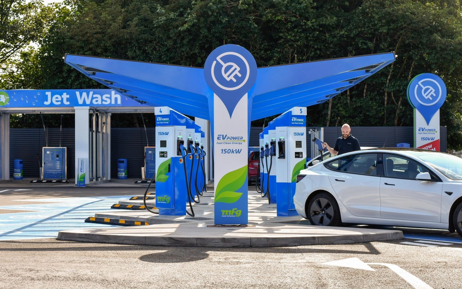 MFG's Stretford site is now home to eight dedicated ultra-rapid 150kW EV charging bays. Image: MFG.