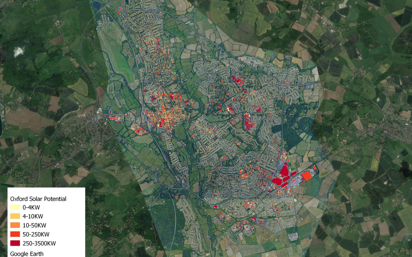 The potential of individual buildings for solar in Oxford. Image: Energeo.