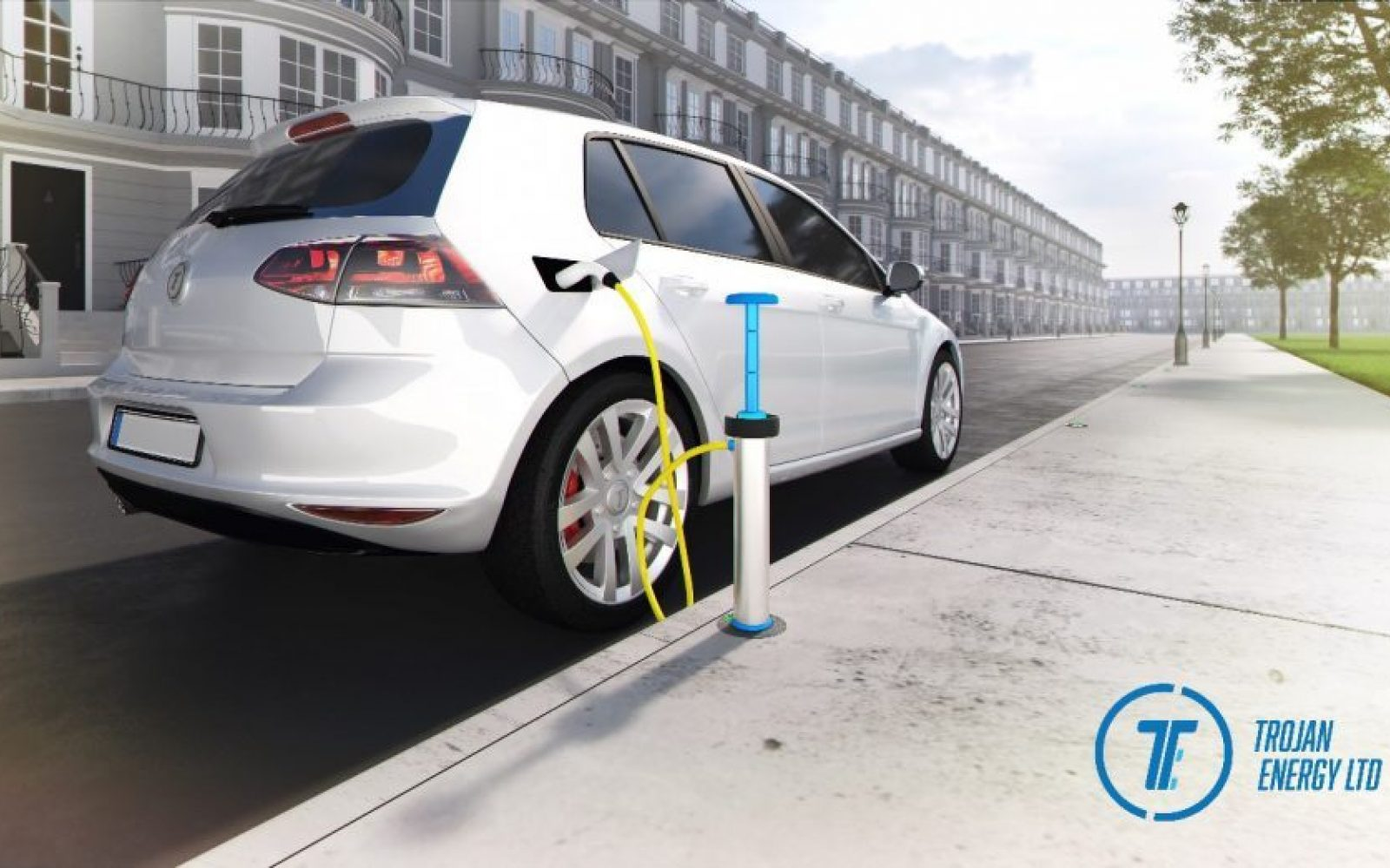 A CGI of the new Trojan Energy charge point, allowing discreet curbside charging. Image: Element Energy.