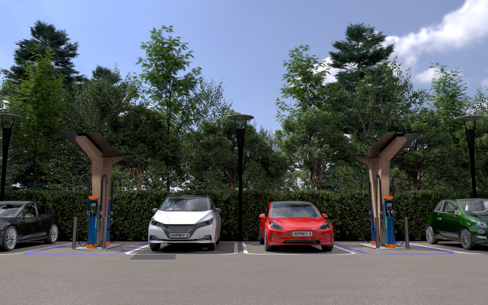 The rapid charging hubs will be rolled out over the next four years. Image: Osprey