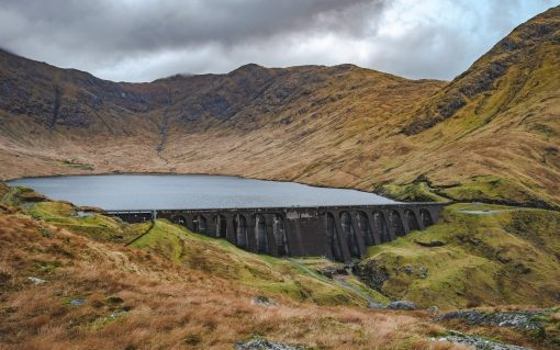 Cruachan Dam, the home of Drax's underground Cruachan pumped hydro storage power station in Argyll. Image: Drax.