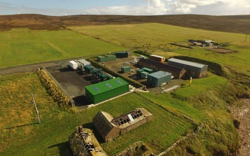 EMEC's onshore substation and hydrogen plant at Caldale, Eday. Image: Orkeny Sky Cam, courtesy of EMEC..