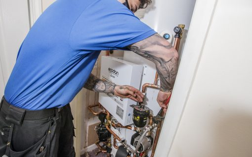 Industry and government should work together to provide pathways to green jobs, such as in emerging areas like heat pumps (pictured here being installed by a British Gas engineer). Image: Centrica.