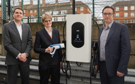 Honda's Waite, Cllr Champion and Moixa's Wright with one of the new chargers. Image: Moixa.
