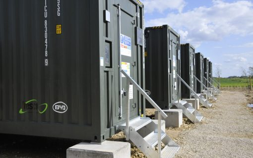 The 7MWh Mill Farm battery facility in Grantham is ESB's first foray into utility-scale battery storage. Image: Anesco.