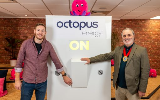 Octopus Energy and the Mayor of Brighton & Hove Cllr Robins at the opening event. Image: Octopus Energy.