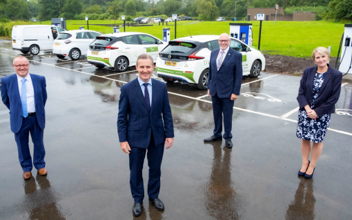 The unveiling of the first EV hub as part of Project PACE. Image: SPEN.