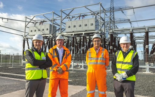 L-R: Peter Wells, CEO - Smart Wires, Zac Richardson, head of new infastructure - NGET, Chris Bennett, acting president - NGET and Michael Walsh, CCO - Smart Wires. Image: National Grid.