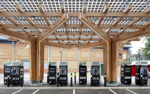 The Glass Yard rapid charging hub in Woolwich, which TfL opened last month. Image: TfL