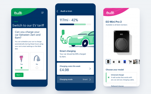 The EV solutions will be available in Bulb's app. Image: Bulb.