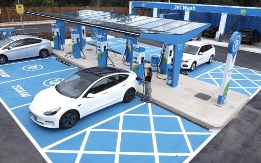 The charging station has eight 150kW EV chargers. Image: Motor Fuel Group via Twitter
