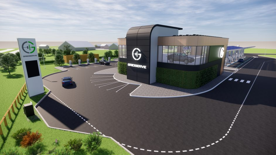The Braintree site will have a two storey building with facilities such as a coffee shop and airport style lounge. Image: GRIDSERVE.