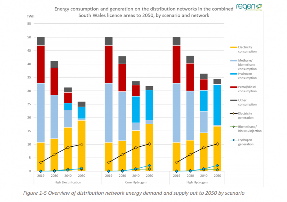 Overview of distribution network energy demand and supply out to 2050 by scenario. Image: Regen.