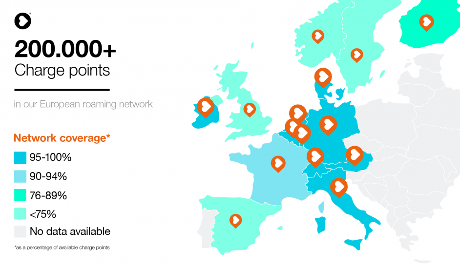 A map of NewMotion's coverage across Europe. Image: NewMotion.